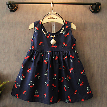 Girls Dress Summer 2016 Girl Flower Dress Baby Sleeveless Dresses Children Bownot Dresses Kids Party Princess Clothes 2-8Y